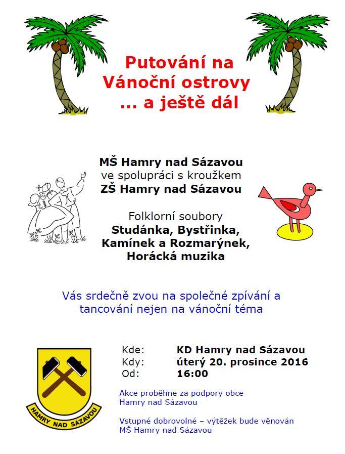 Vánoční vystoupení souborů Studánka, Bystřinka, Kamínek a Rozmarýnek a Horácké muziky