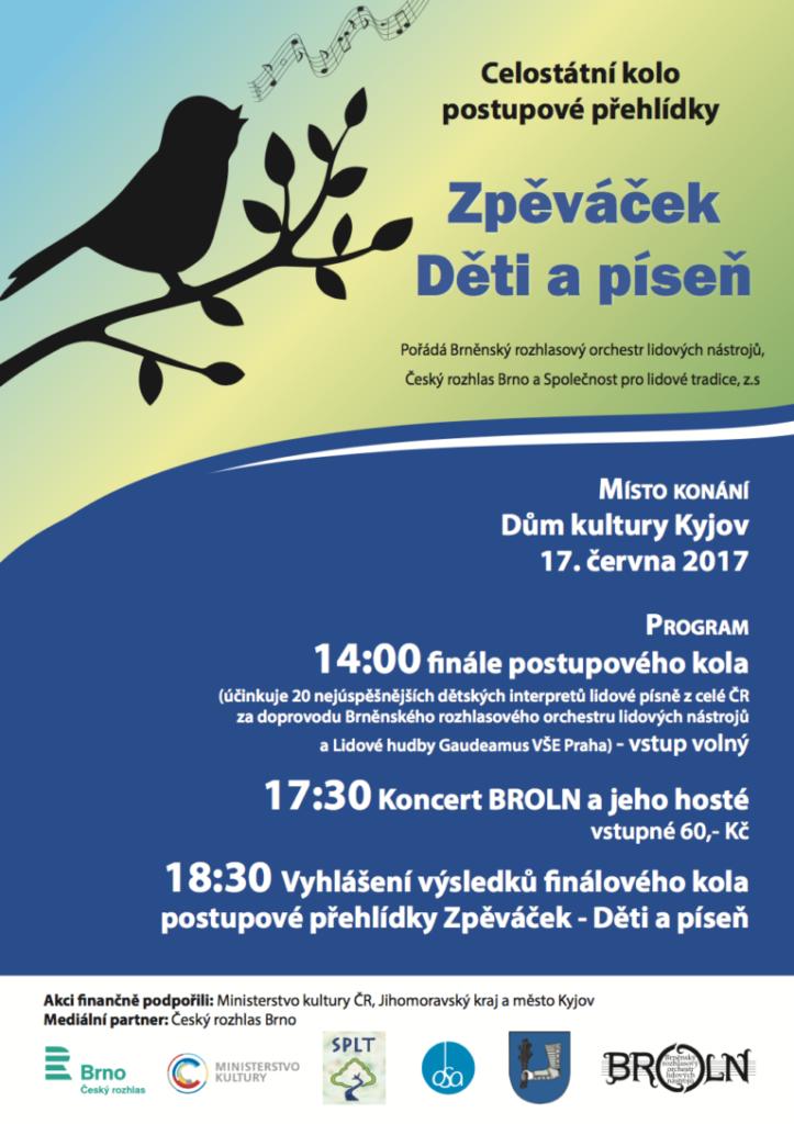 Celostátní kolo soutěže Zpěváček, Kyjov 2017
